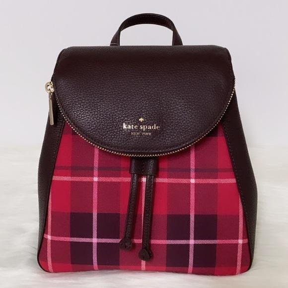 New💃Kate Spade leila plaid medium flap backpack